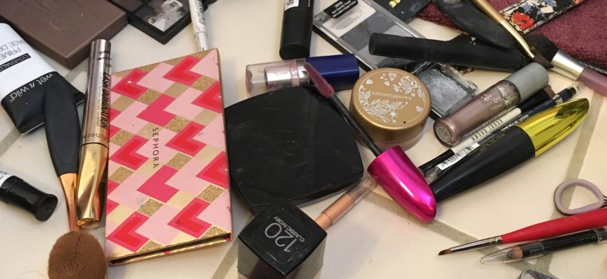 a mess of makeup supplies